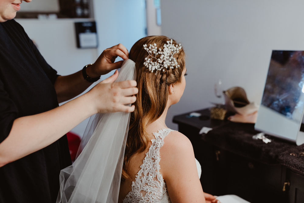 Bride Bridal Hair Style Up Do Accessory Veil 92 Burton Road Wedding Stevie Jay Photography