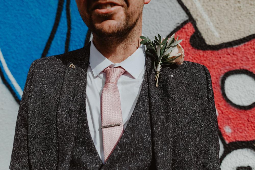 Groom Suit Groomsmen Grey Pink Tie Buttonhole Rose 92 Burton Road Wedding Stevie Jay Photography