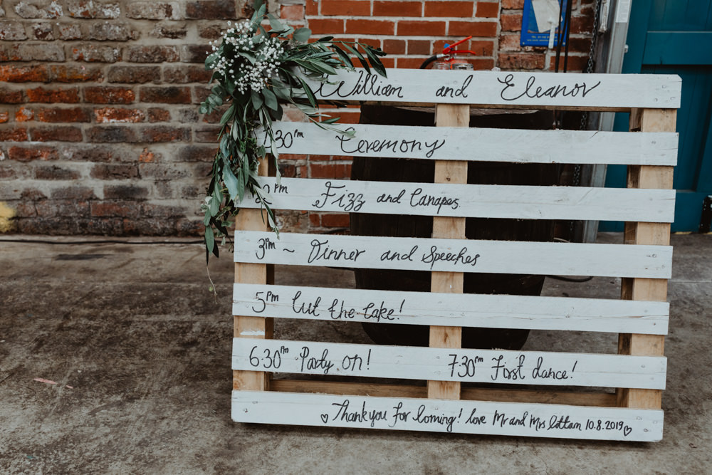 Painted Wooden Pallet Sign Signage Signs 92 Burton Road Wedding Stevie Jay Photography