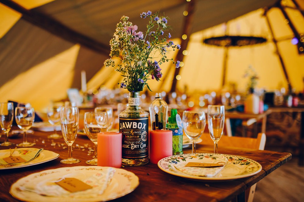Bottle Flowers Centrepice Decor Tipi Alderford Lake Wedding Amy B Photography