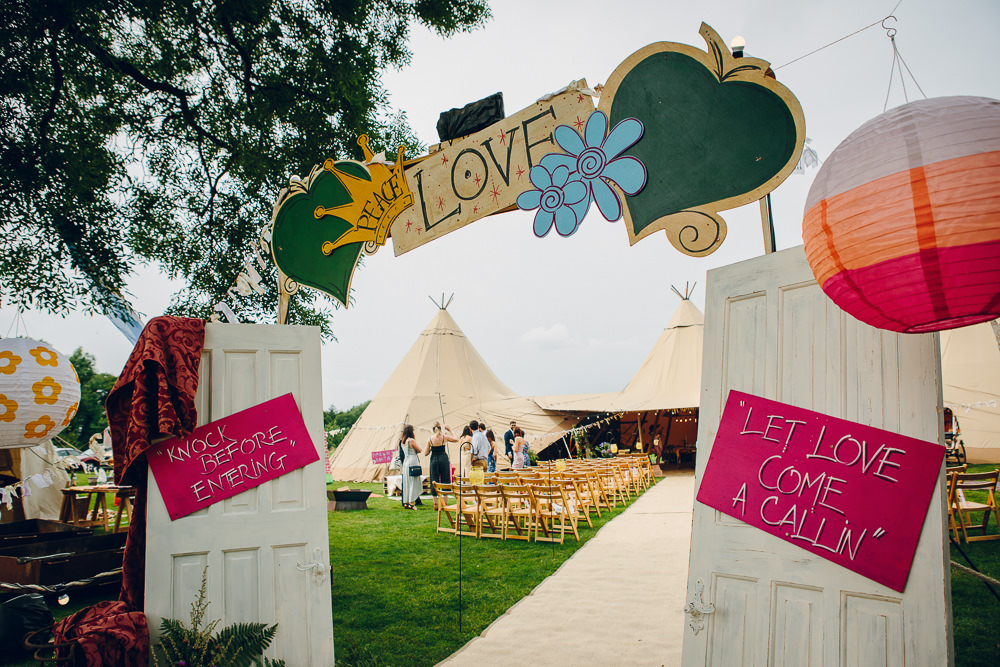 Entrance Doorway Arch Doors Sign Signage Signs Backdrop Alderford Lake Wedding Amy B Photography
