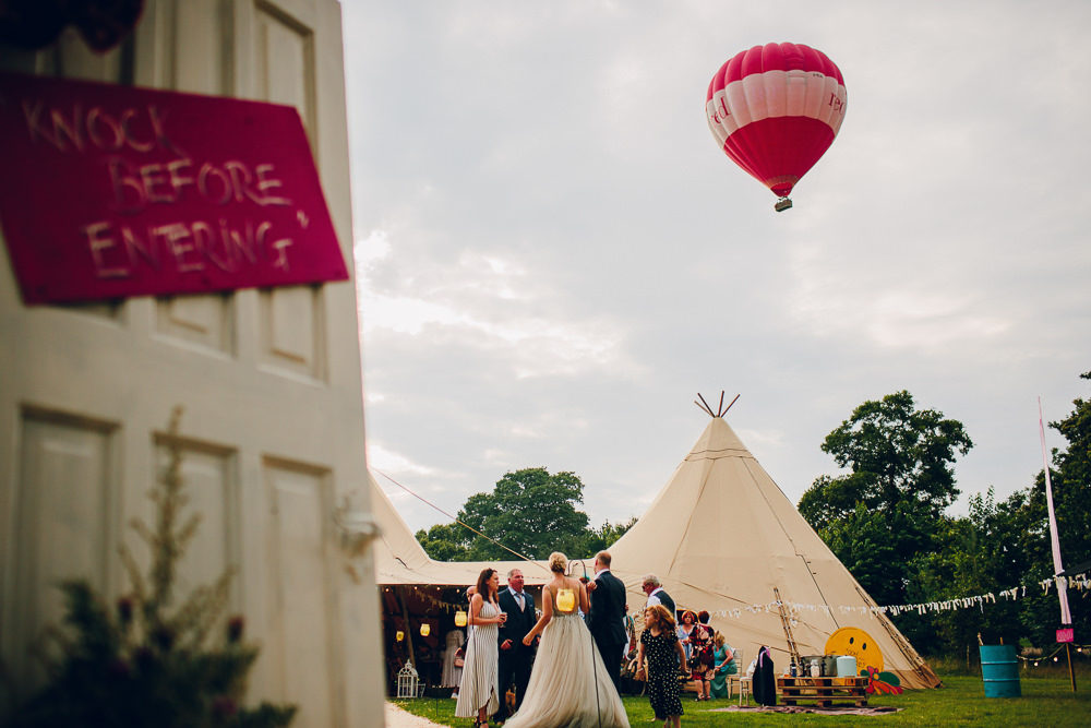 Entrance Doorway Arch Doors Sign Signage Signs Backdrop Hot Air Balloon Tipi Alderford Lake Wedding Amy B Photography