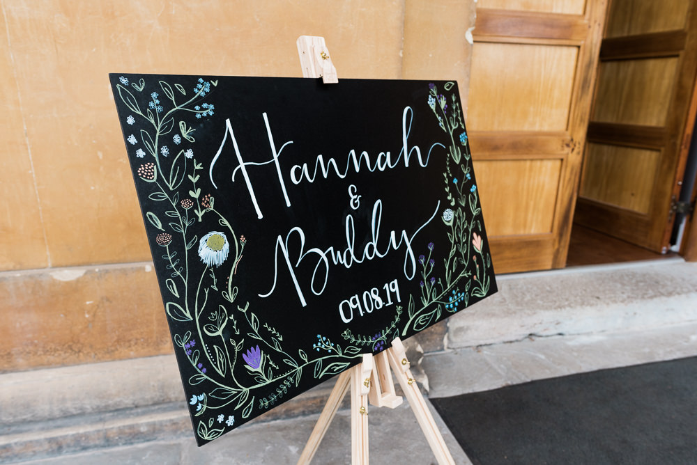 Welcome Sign Chalk Black Board Sings Signage Illustrated Floral Calligraphy Arnos Vale Cemetery Wedding Rob Smith Photographer