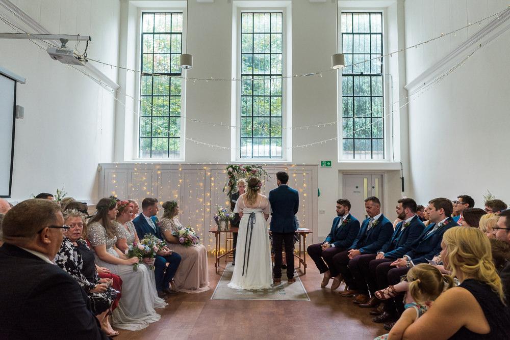 Fairy Light Backdrop Ceremony Arnos Vale Cemetery Wedding Rob Smith Photographer