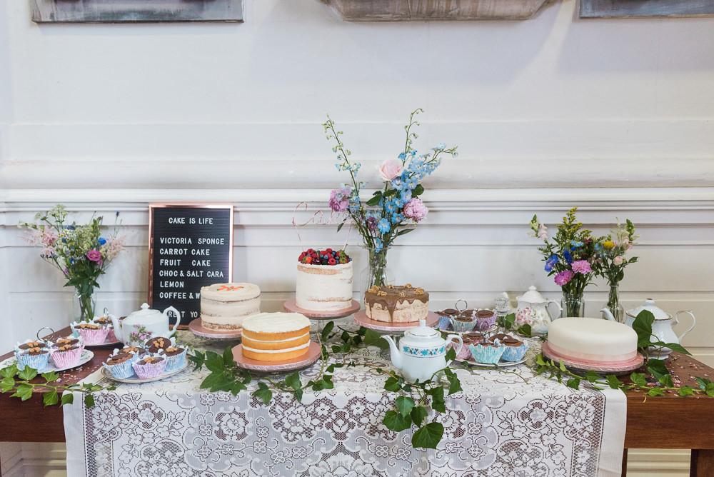 Cake Table Dessert Bar Pretty Flowers Lace Arnos Vale Cemetery Wedding Rob Smith Photographer