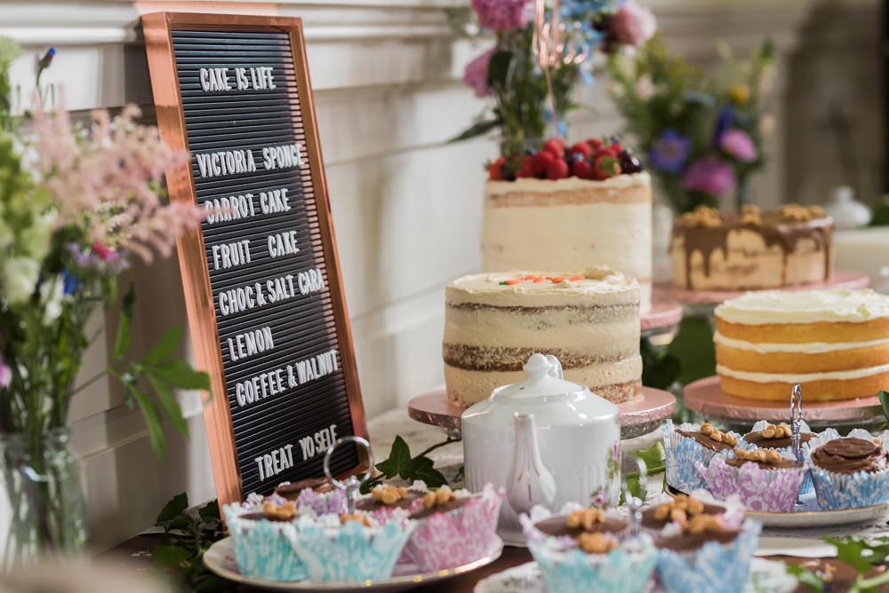 Cake Table Dessert Bar Pretty Flowers Arnos Vale Cemetery Wedding Rob Smith Photographer