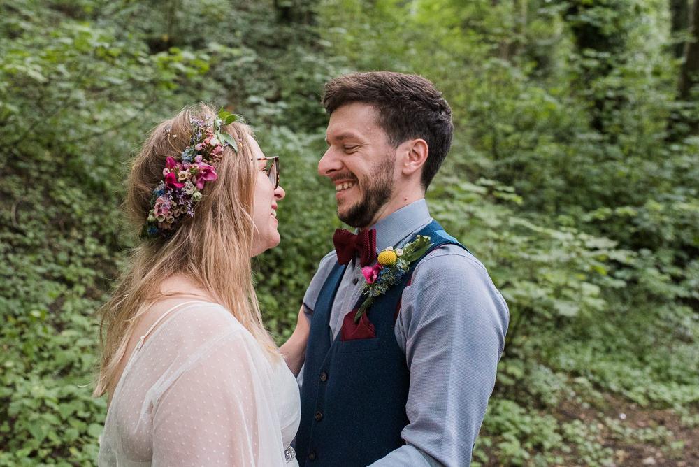 Groom Suit Bow Tie Waistcoat Braces Arnos Vale Cemetery Wedding Rob Smith Photographer