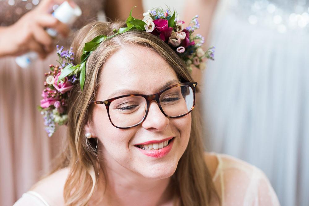 Bride Bridal Make Up Hair Flower Crown Glasses Arnos Vale Cemetery Wedding Rob Smith Photographer