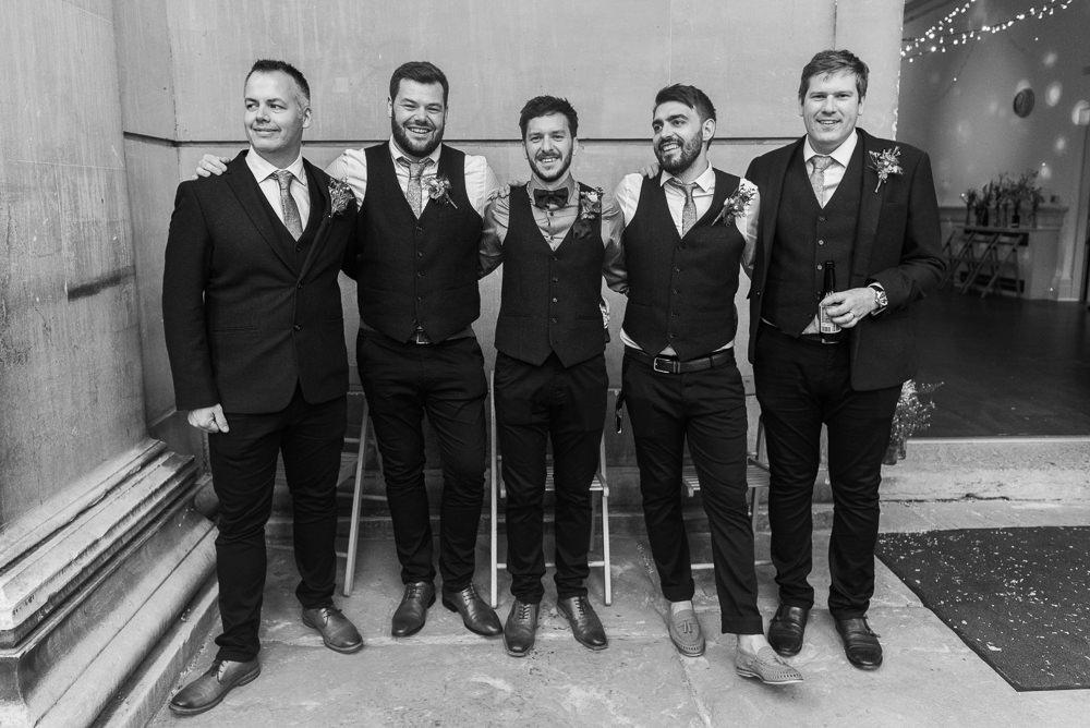 Groom Suit Bow Tie Waistcoat Braces Groomsmen Arnos Vale Cemetery Wedding Rob Smith Photographer