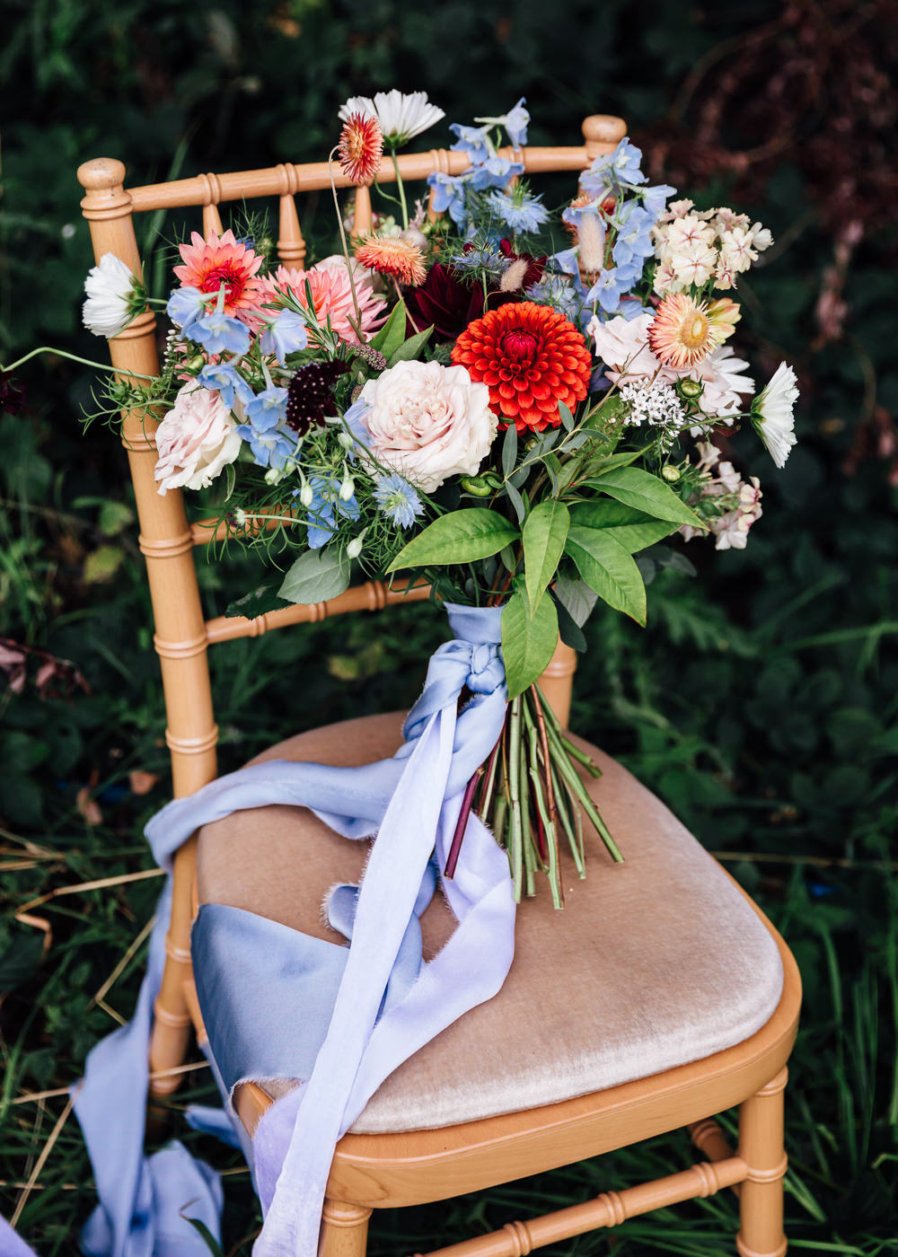 Bouquet Flowers Bride Bridal Dahlias Blue Ribbon Delphiniums Autumn Festival Wedding Ideas Indigo and Violet Photography