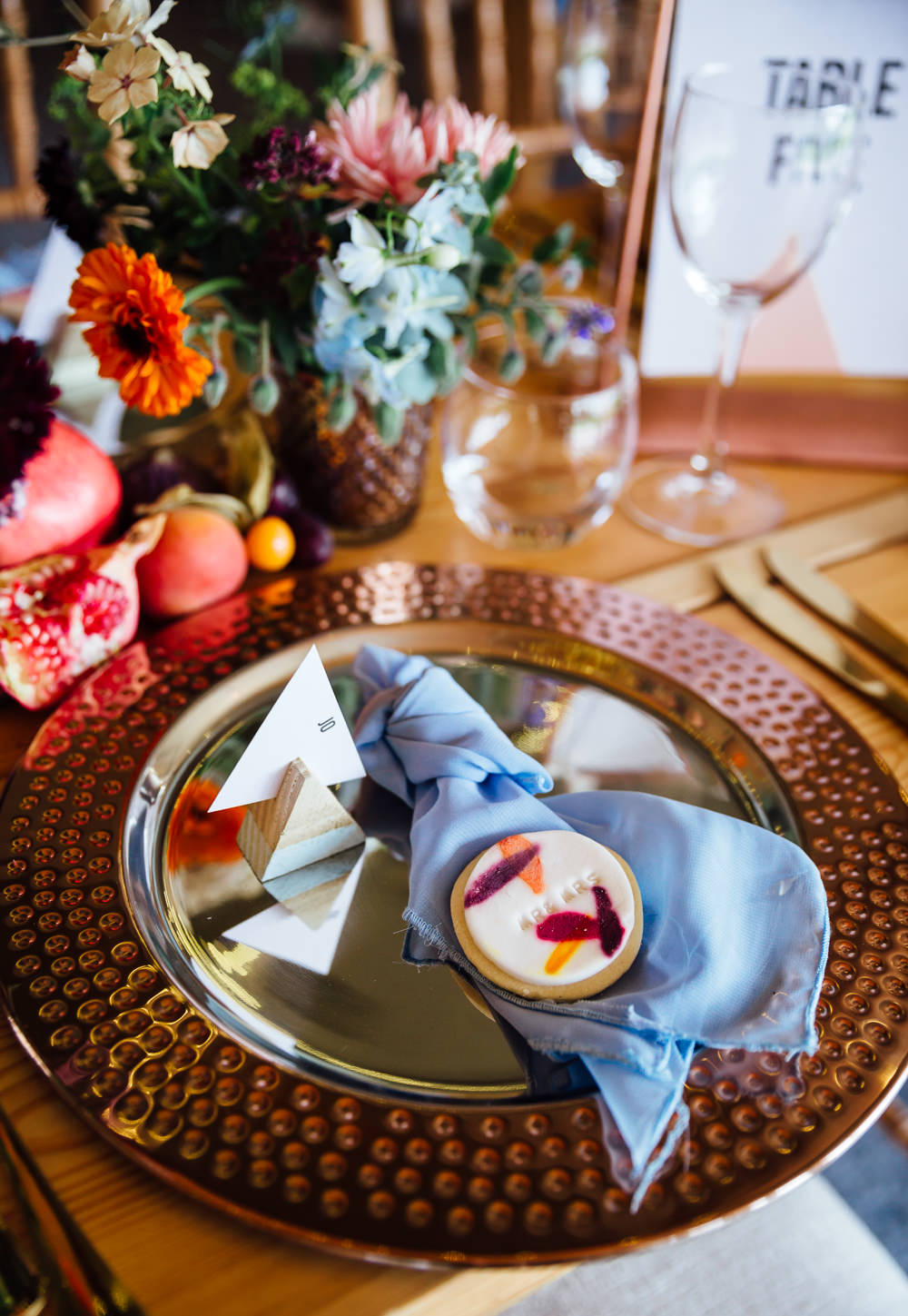 Place Setting Plate Decor Napkin Blue Autumn Festival Wedding Ideas Indigo and Violet Photography