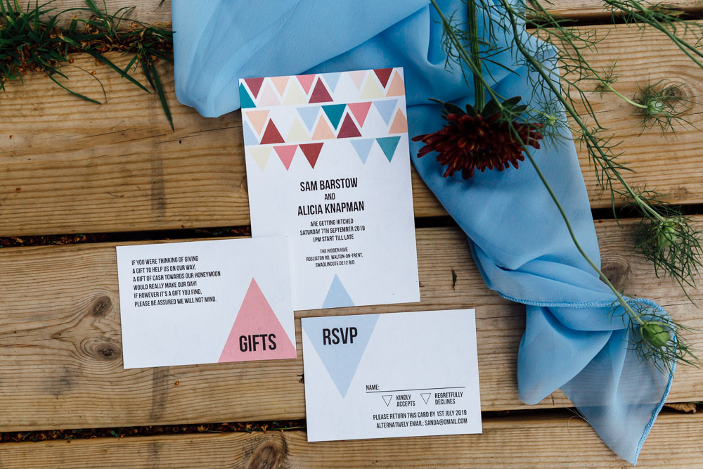 Triangle Geometric Stationery Invite Invitations Autumn Festival Wedding Ideas Indigo and Violet Photography