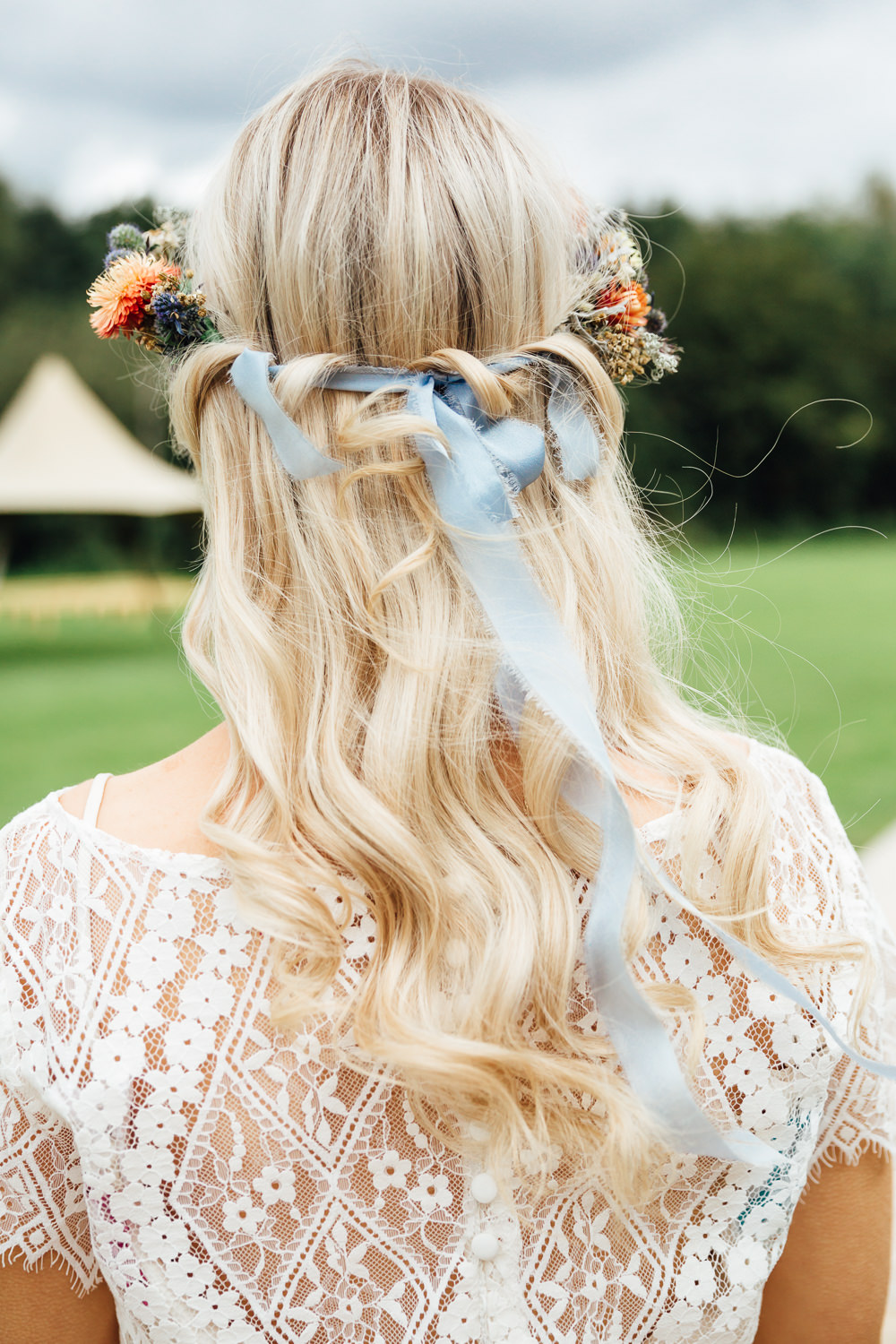 Hair Bride Bridal Flower Crown Half Up Half Down Headdress Autumn Festival Wedding Ideas Indigo and Violet Photography