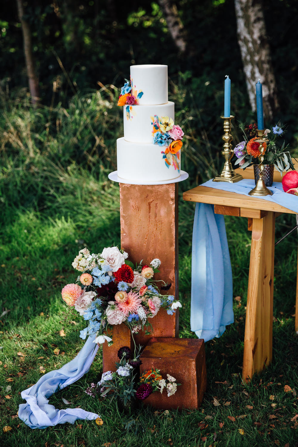 Cake Table Wooden Plinth Autumn Festival Wedding Ideas Indigo and Violet Photography