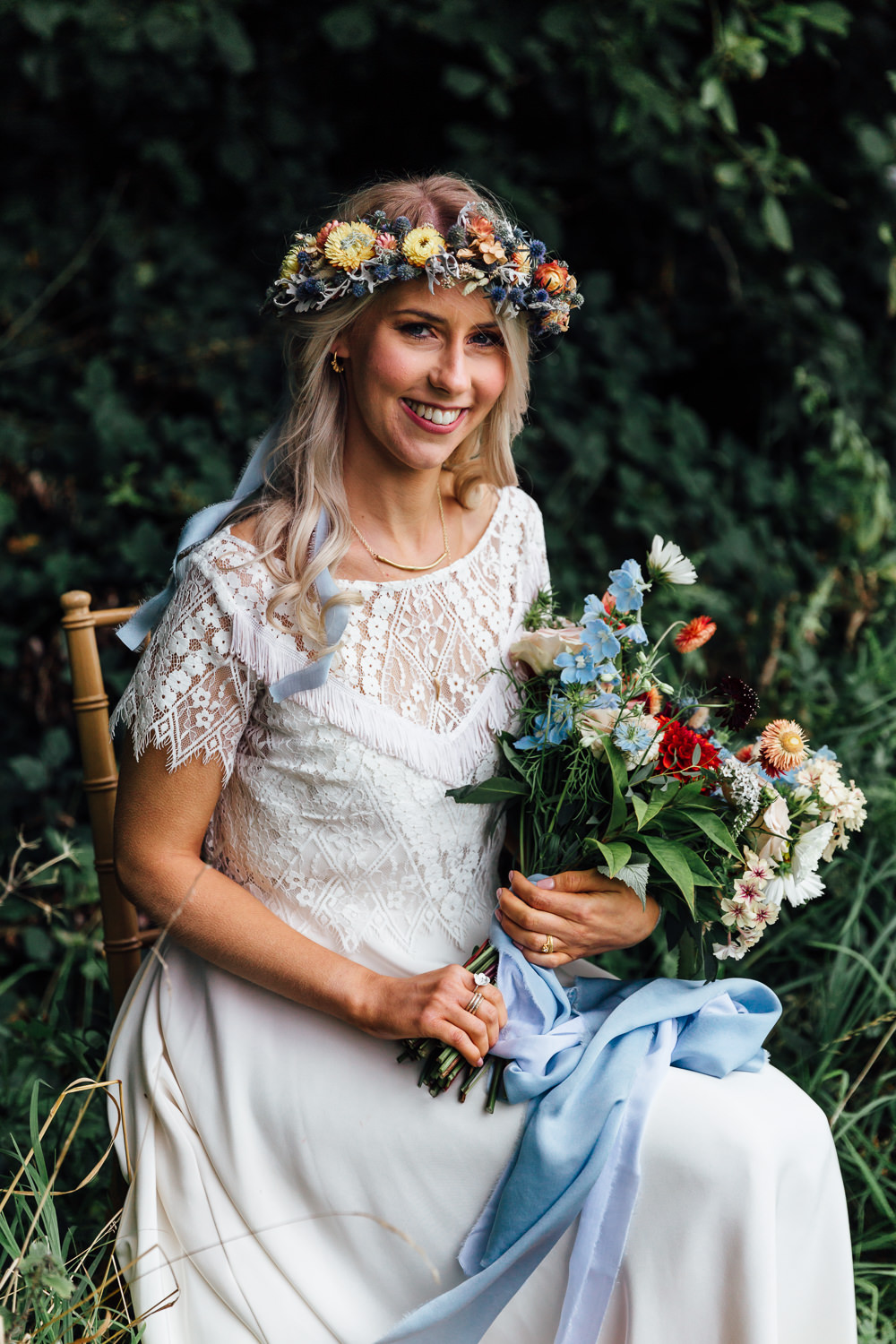 Dress Gown Bride Bridal Lucy Can't Dance Lace Top Sleeves Autumn Festival Wedding Ideas Indigo and Violet Photography