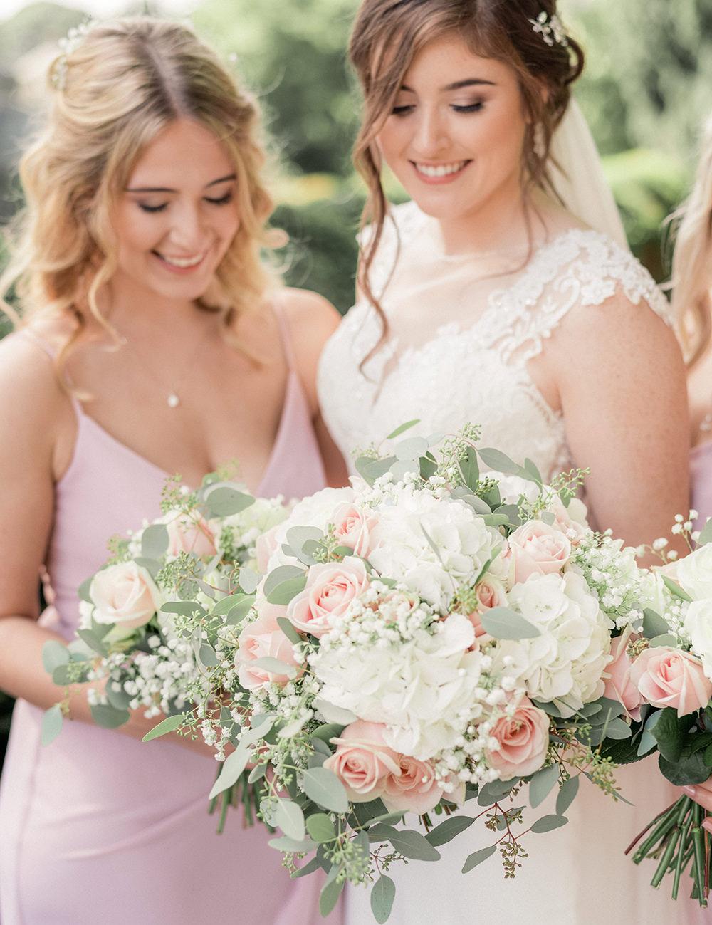 Bouquet Flowers Bride Bridal Pink Rose White Hydrangea Eucalyptus Beamish Hall Wedding Carn Patrick Photography