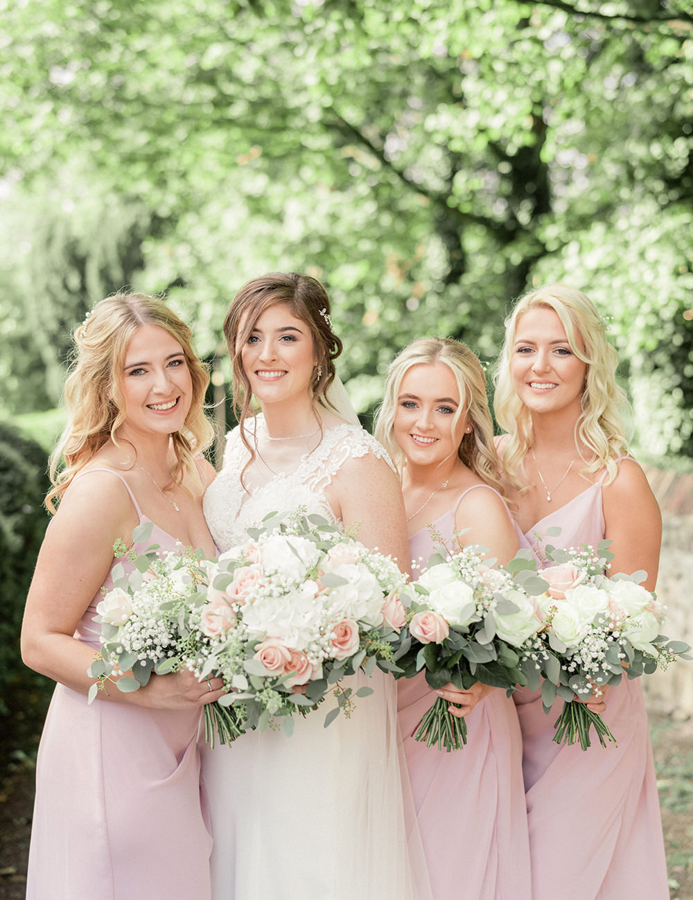Long Pink Bridesmaid Bridesmaids Dress Dresses Beamish Hall Wedding Carn Patrick Photography
