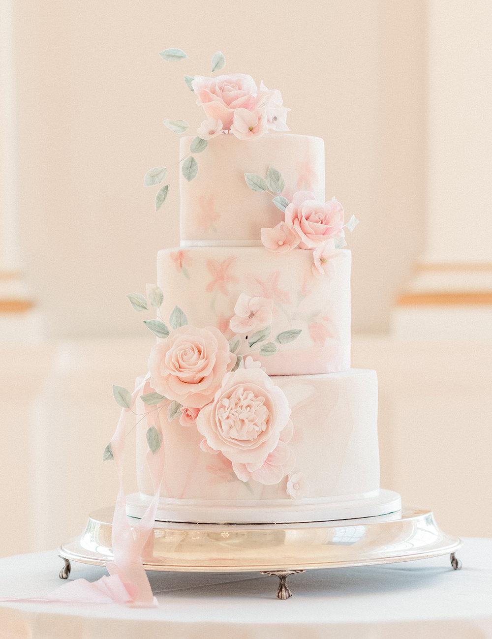 Iced Cake Sugar Flowers Pink Greenery Beamish Hall Wedding Carn Patrick Photography