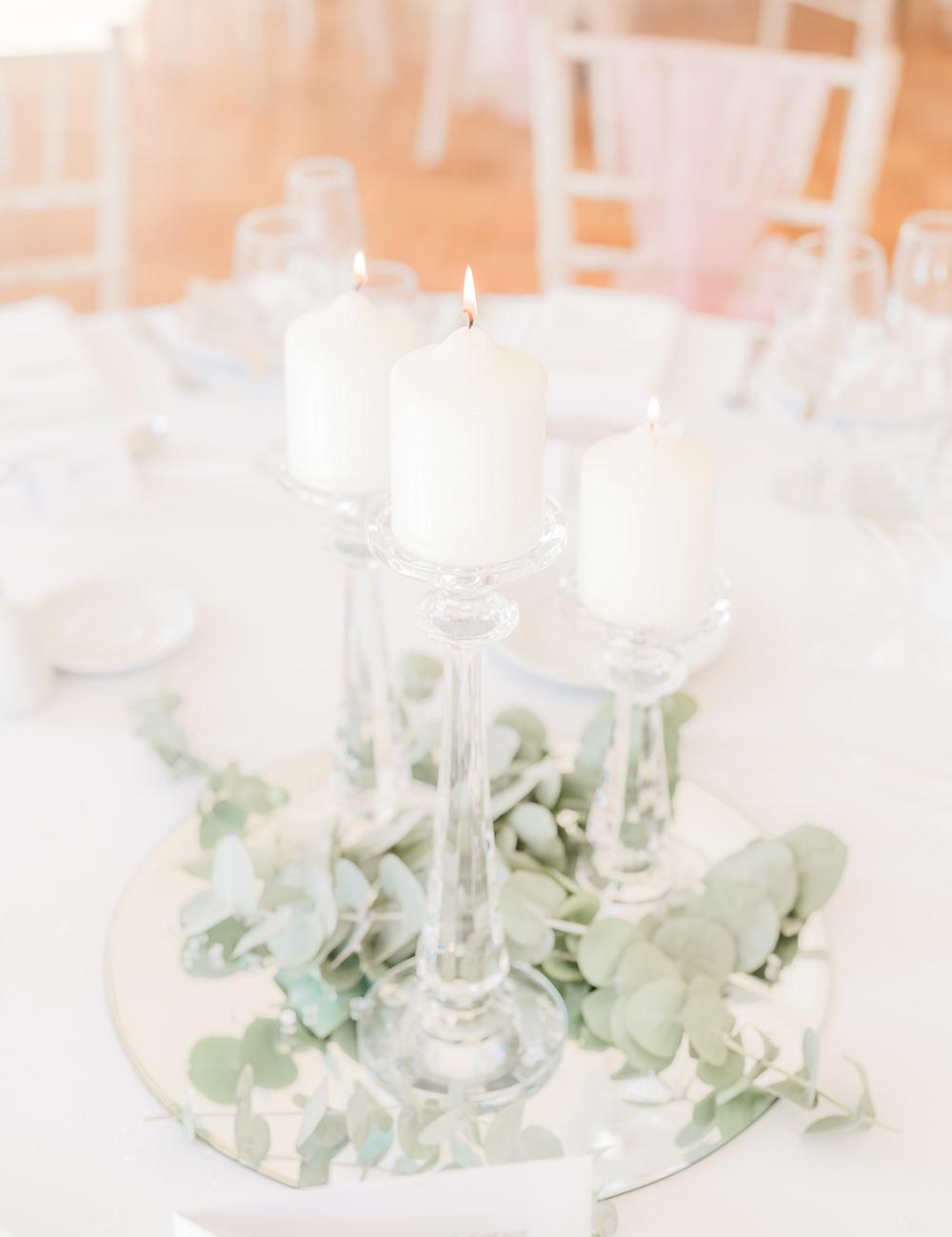 Centrepiece Candles Foliage Greenery Mirror Beamish Hall Wedding Carn Patrick Photography