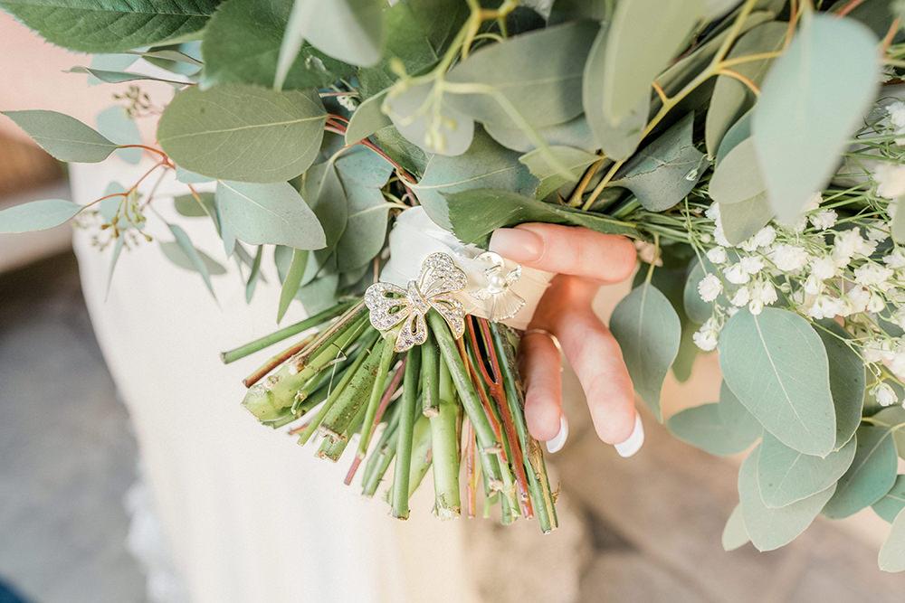 Bouquet Flowers Bride Bridal Pink Rose White Hydrangea Eucalyptus Brooch Beamish Hall Wedding Carn Patrick Photography