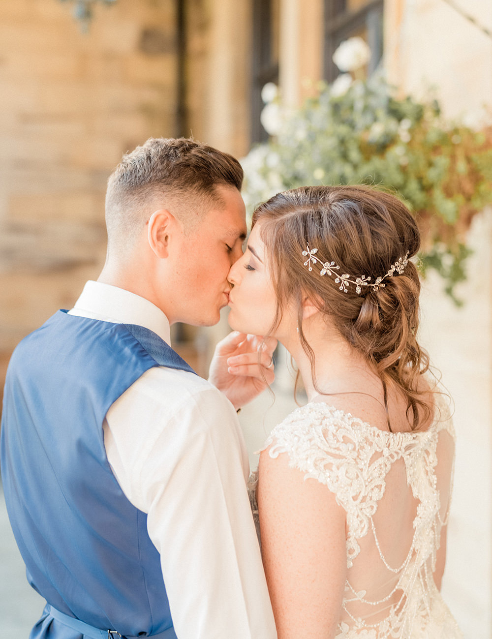 Dress Gown Bride Bridal Lace Pearl Fit Flare Beamish Hall Wedding Carn Patrick Photography