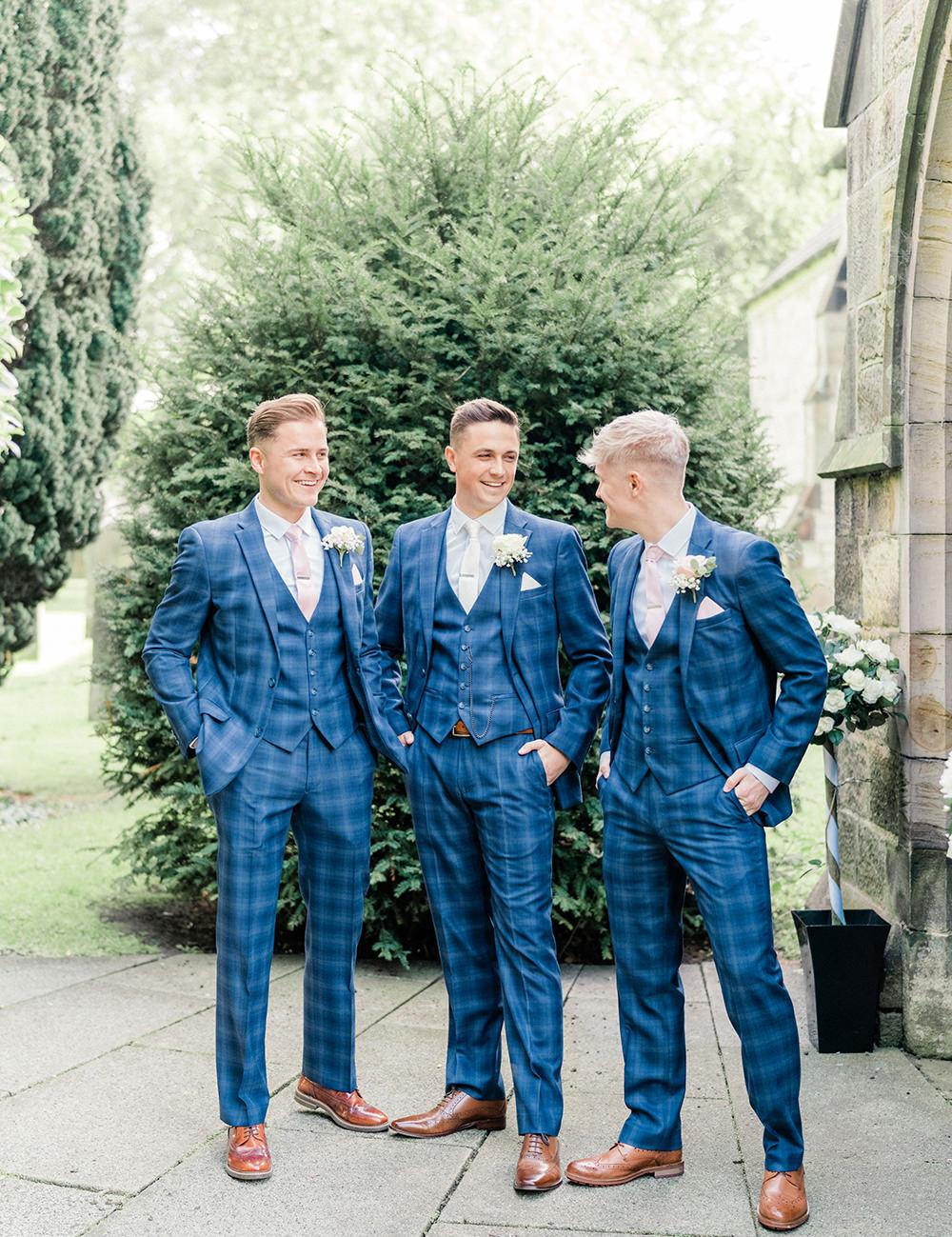 Groom Suit Blue Check Groomsmen Beamish Hall Wedding Carn Patrick Photography