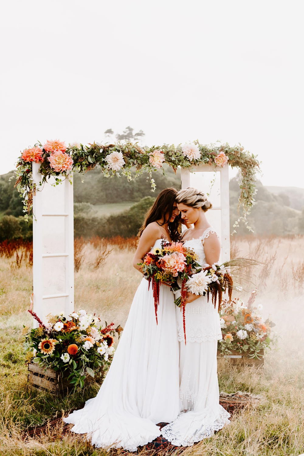 Ethical Wedding Ideas Sadie Osborne Photography Flower Arch Backdrop Doors Glass Antique Ceremony Aisle