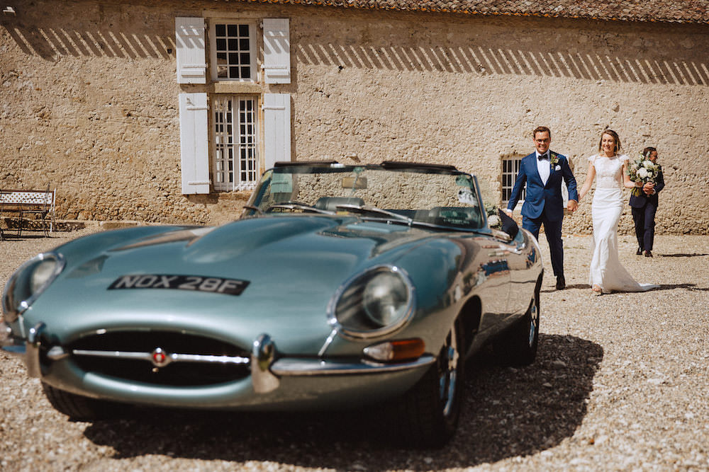 Classic Car Transport French Chateau Wedding Red On Blonde Photography