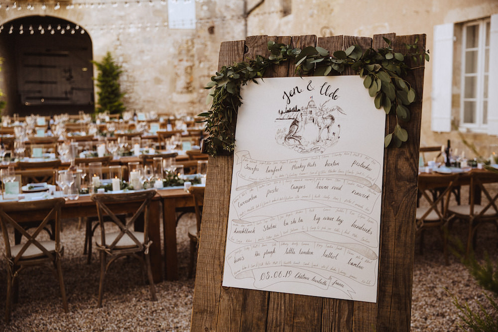 Table Plan Seating Chart Illustrated Greenery Wood French Chateau Wedding Red On Blonde Photography