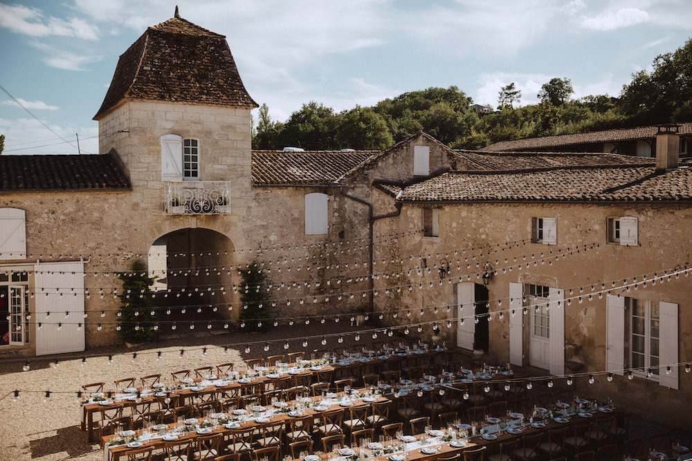 Outdoor Reception Festoon Lights Lighting Long Tables French Chateau Wedding Red On Blonde Photography