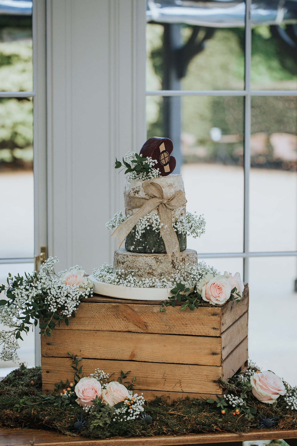 Cheese Tower Stack Cake Heart Flowers Wooden Box Crate Stand Hayne House Wedding Olegs Samsonovs Photography