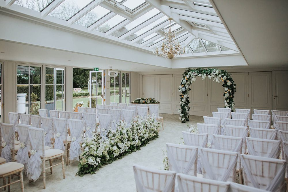 Flower Arch Ceremony Aisle Pew End Flowers Meadow Greenery Foliage Backdrop Hayne House Wedding Olegs Samsonovs Photography