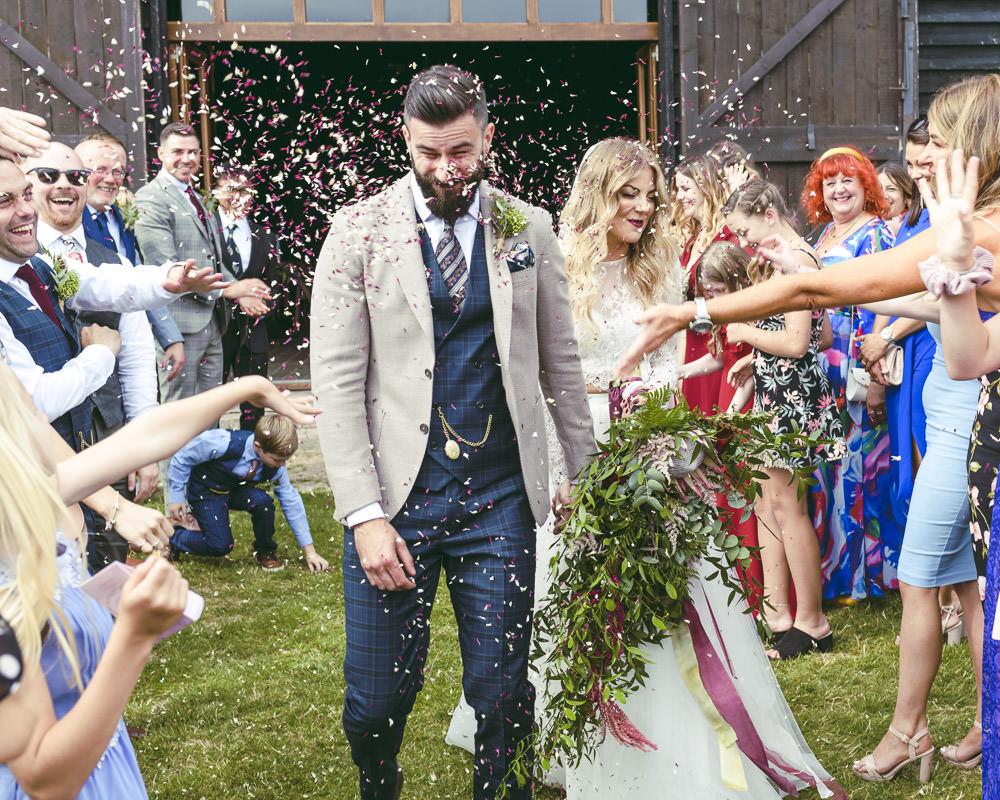 Large Oversized Cascading Bouquet Flowers Bride Bridal Greenery Foliage Protea Astilbe Kingshill Barn Wedding Sandra Reddin Photography