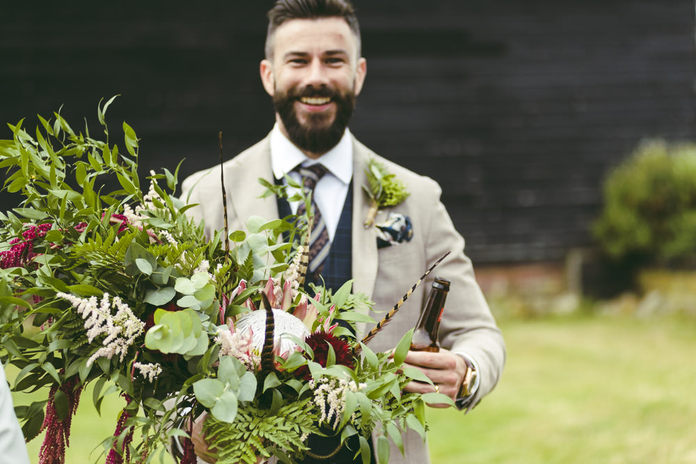 Large Oversized Cascading Bouquet Flowers Bride Bridal Greenery Foliage Protea Astilbe Groom Groomsmen Suits Blazer Waistcoats Tie Navy Cream Kingshill Barn Wedding Sandra Reddin Photography