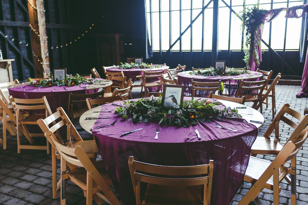 Round Tables Red Burgundy Table Cloths Kingshill Barn Wedding Sandra Reddin Photography