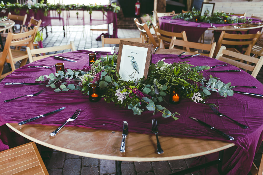 Centrepiece Decor Table Flowers Greenery Foliage Bird Table Names Kingshill Barn Wedding Sandra Reddin Photography
