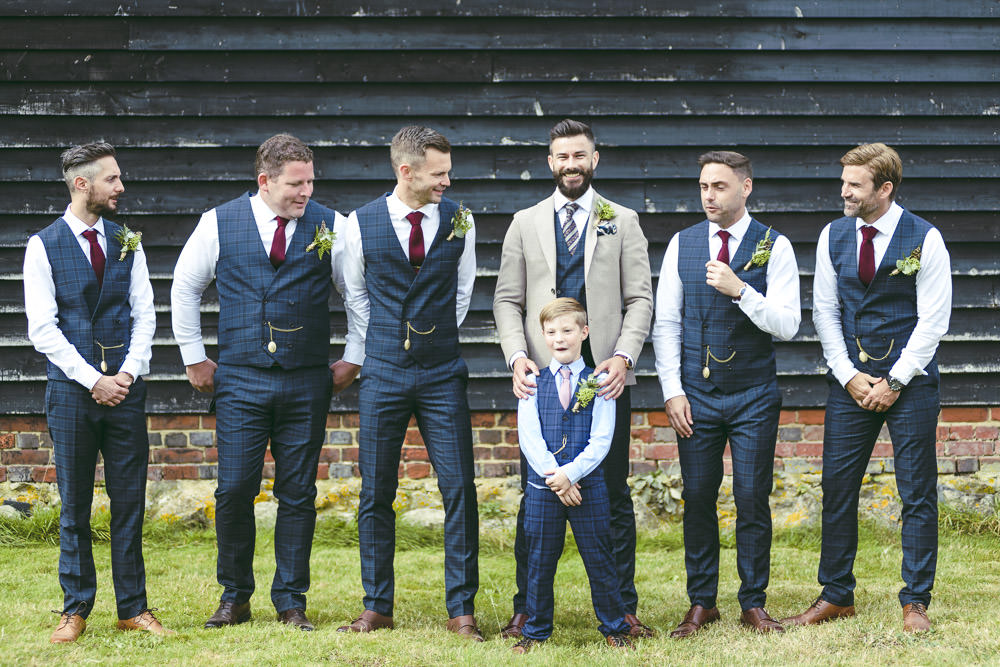 Groom Groomsmen Suits Blazer Waistcoats Tie Navy Cream Kingshill Barn Wedding Sandra Reddin Photography