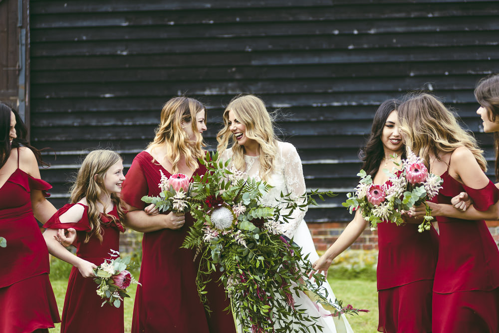 Bridesmaids Bridesmaid Dress Dresses Red Burgundy Kingshill Barn Wedding Sandra Reddin Photography