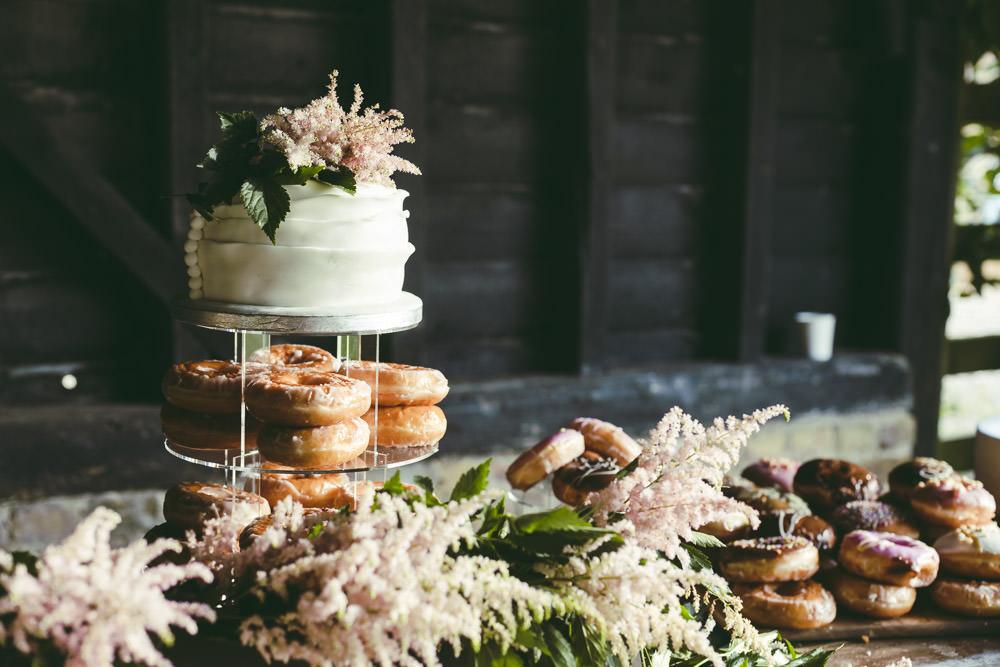 Buttercream Cake Astilbe Topper Doughnuts Donut Kingshill Barn Wedding Sandra Reddin Photography
