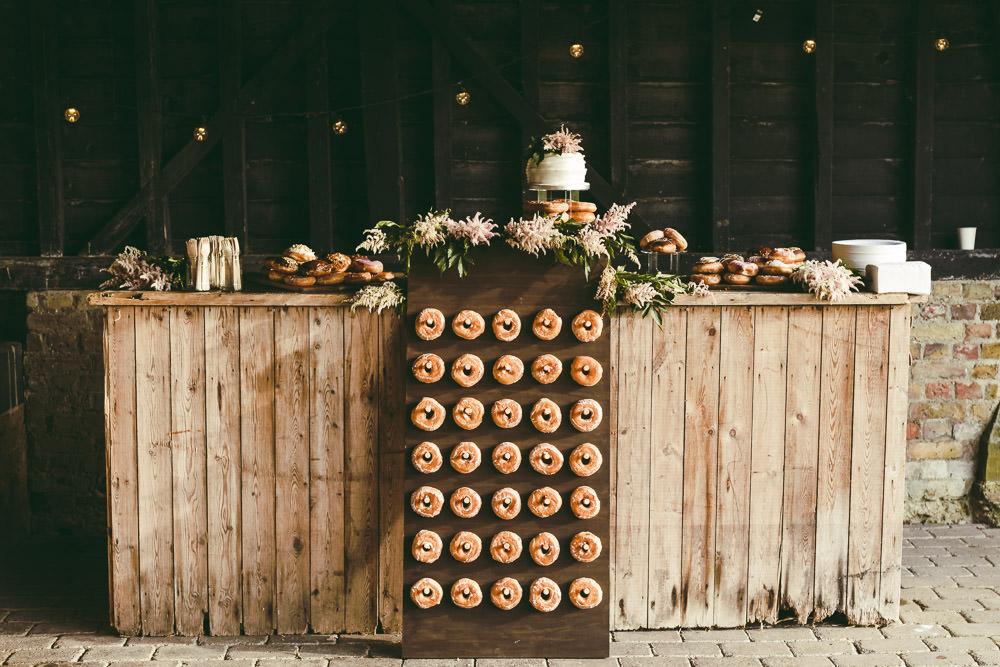 Doughnuts Donut Wall Stand Cake Table Dessert Kingshill Barn Wedding Sandra Reddin Photography