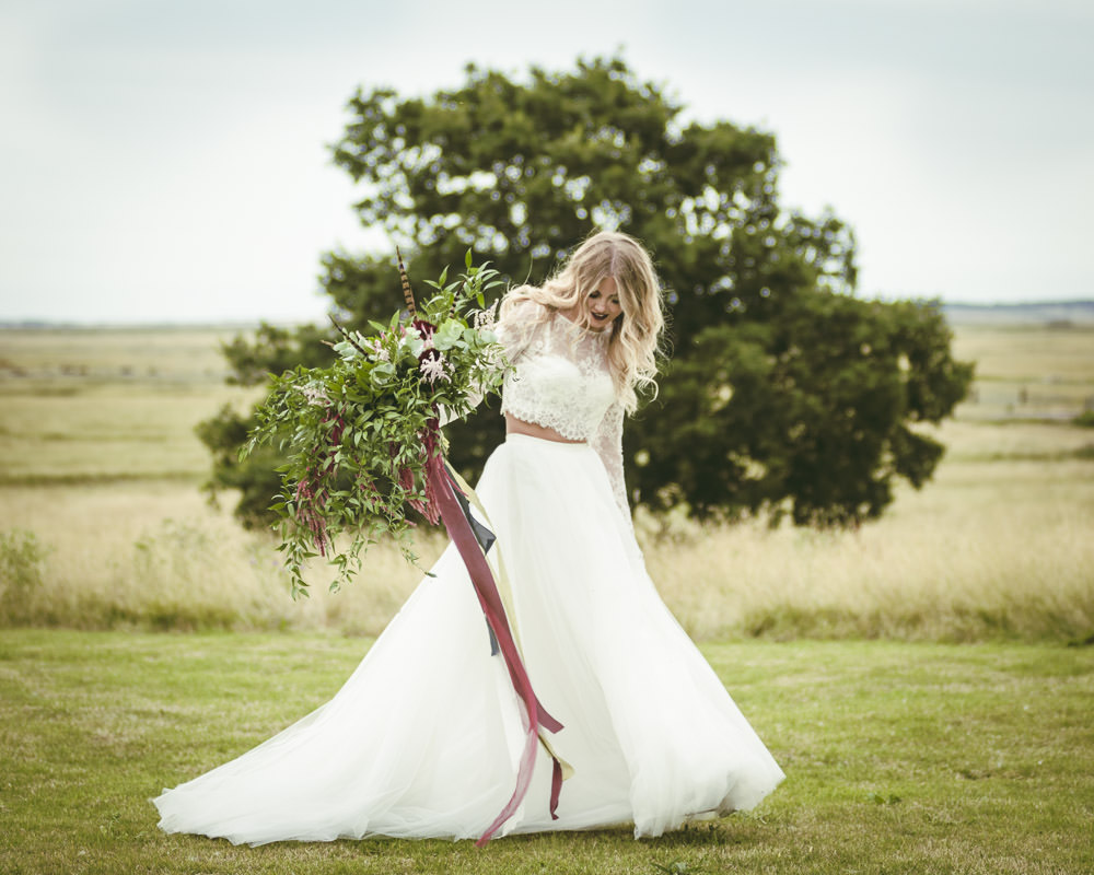 Dress Gown Bride Bridal from Karen Willis Holmes Two Piece Bridal Separates Skirt Top Tulle Lace Kingshill Barn Wedding Sandra Reddin Photography