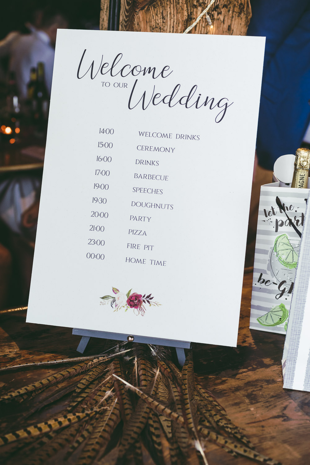 Sign Signage Signs Order of the Day Kingshill Barn Wedding Sandra Reddin Photography