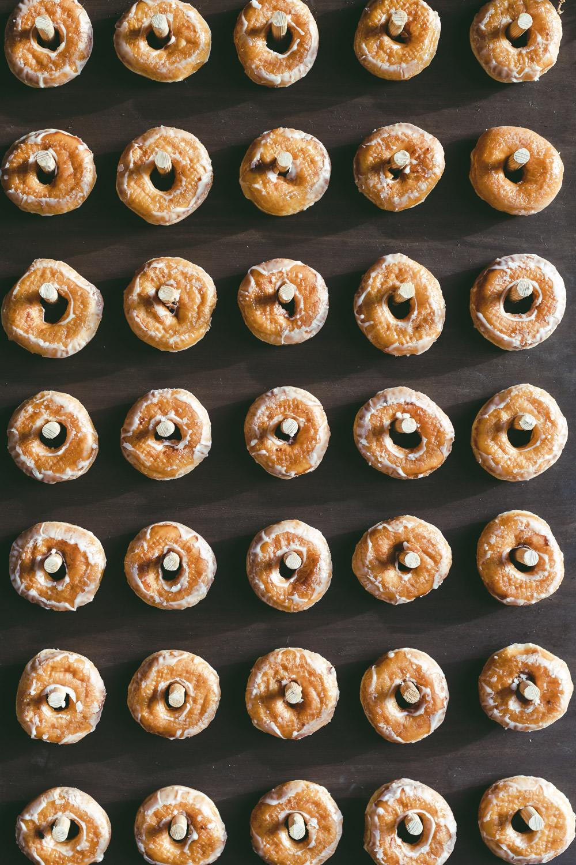 Doughnuts Donut Wall Stand Kingshill Barn Wedding Sandra Reddin Photography
