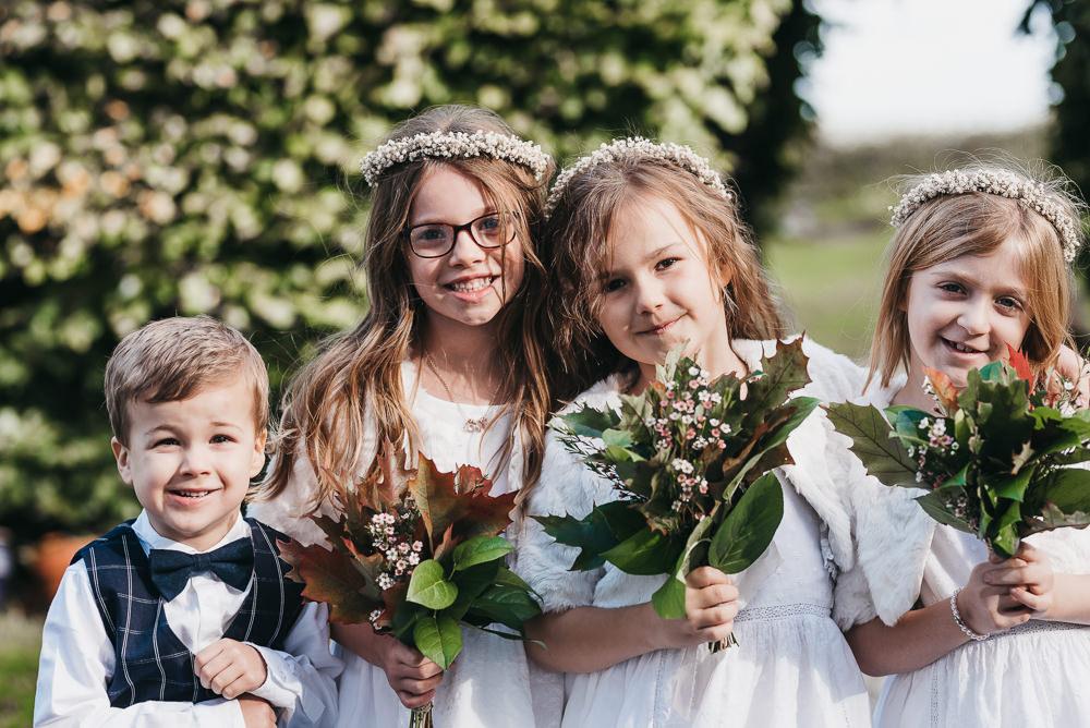 Flower Girls Page Boy Greenery Autumn Post Bouquet Floral Crown Llys Meddyg Wedding Hannah Miles Photography