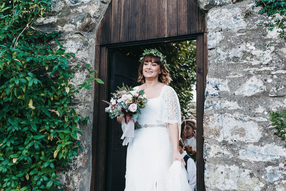 Bride Bridal Boho Sleeves Lace Dress Gown Greenery Floral Crown Bouquet Llys Meddyg Wedding Hannah Miles Photography