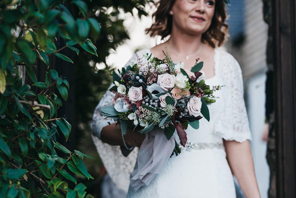 Bride Bridal Bouquet Rose Anemone Autumn Winter Llys Meddyg Wedding Hannah Miles Photography