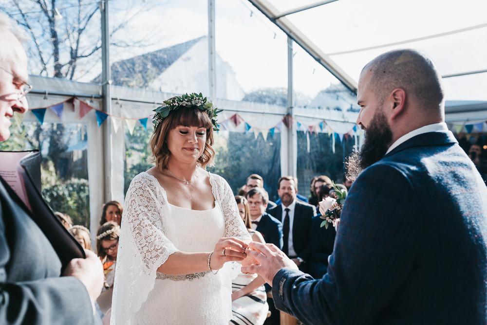Bride Bridal Boho Sleeves Lace Dress Gown Greenery Floral Crown Groom Bunting Llys Meddyg Wedding Hannah Miles Photography