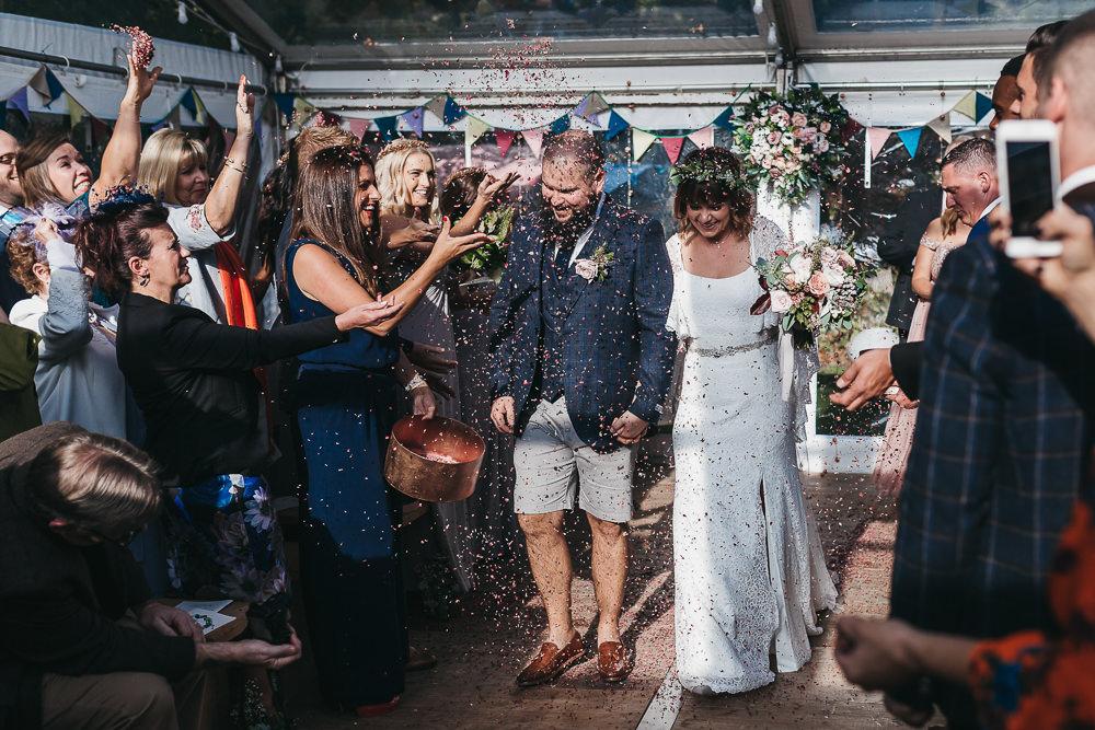 Confetti Bride Bridal Boho Sleeves Lace Dress Gown Greenery Floral Crown Shorts Chino Groom Llys Meddyg Wedding Hannah Miles Photography