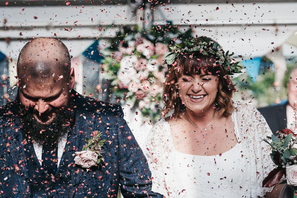 Bride Bridal Boho Sleeves Lace Dress Gown Greenery Floral Crown Shorts Chino Groom Confetti Llys Meddyg Wedding Hannah Miles Photography