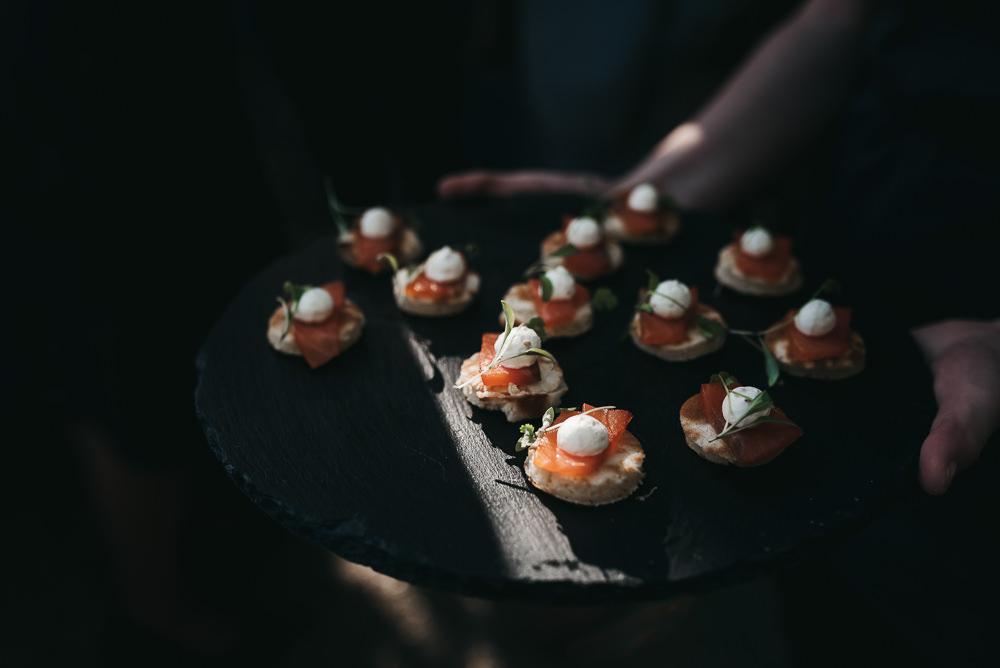 Canapés Smoked Salmon Blinis Llys Meddyg Wedding Hannah Miles Photography